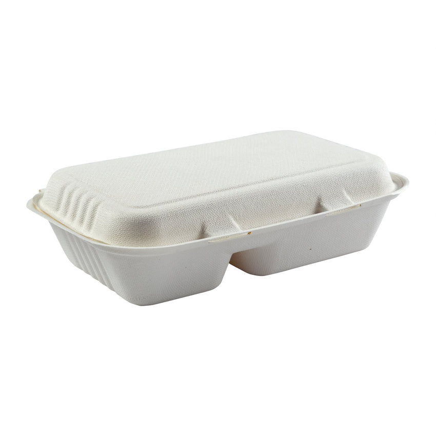 "2-section Hinged Lid Containers 9"" x 6"", Closed Container, Side View"