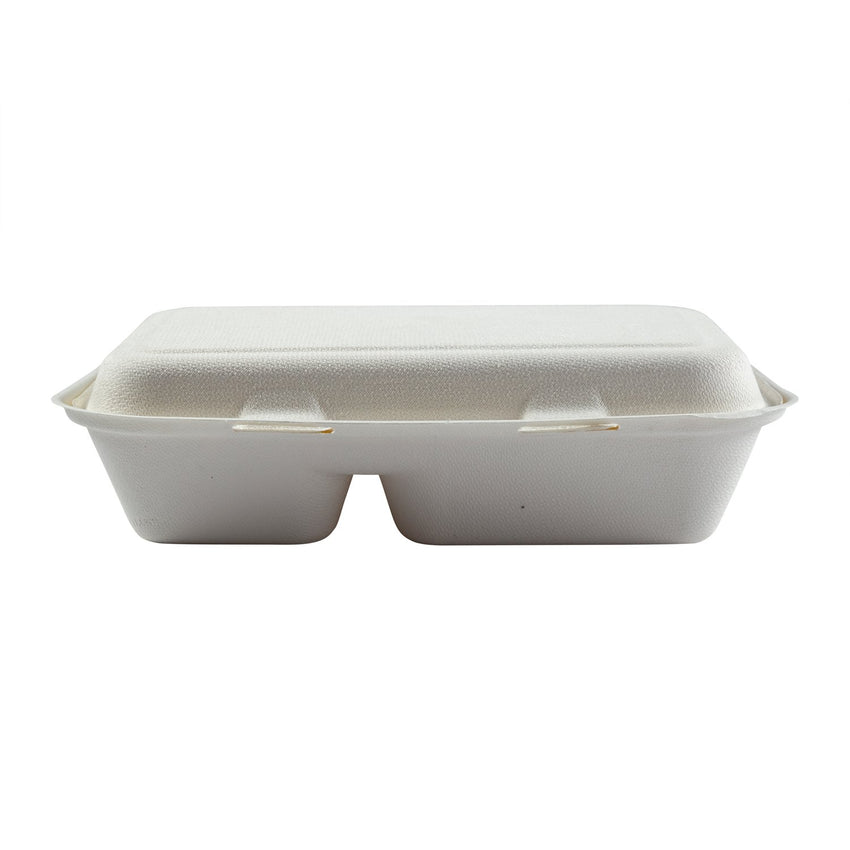 "2-section Hinged Lid Containers 9"" x 6"", Closed Container, Front View"