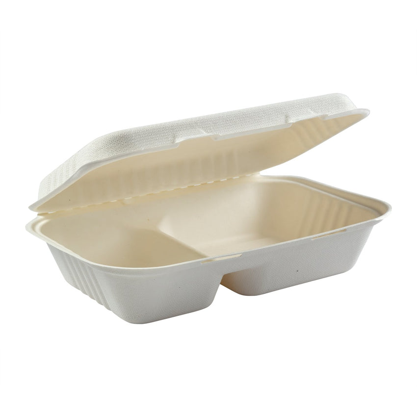 "2-section Hinged Lid Containers 9"" x 6"""