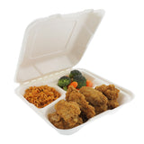 "Medium 3-section Hinged Lid Containers 7.875"" x 8"" x 2.5"", with food"