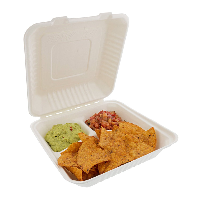 "Large 3-section Hinged Lid Containers 9"" x 9"" x 3.19"", with food"