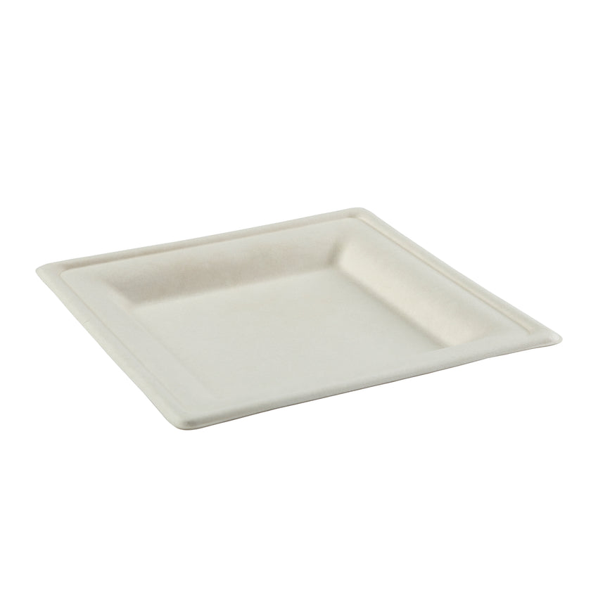 "Plate Bagasse 6"" Square, Case 50x10"