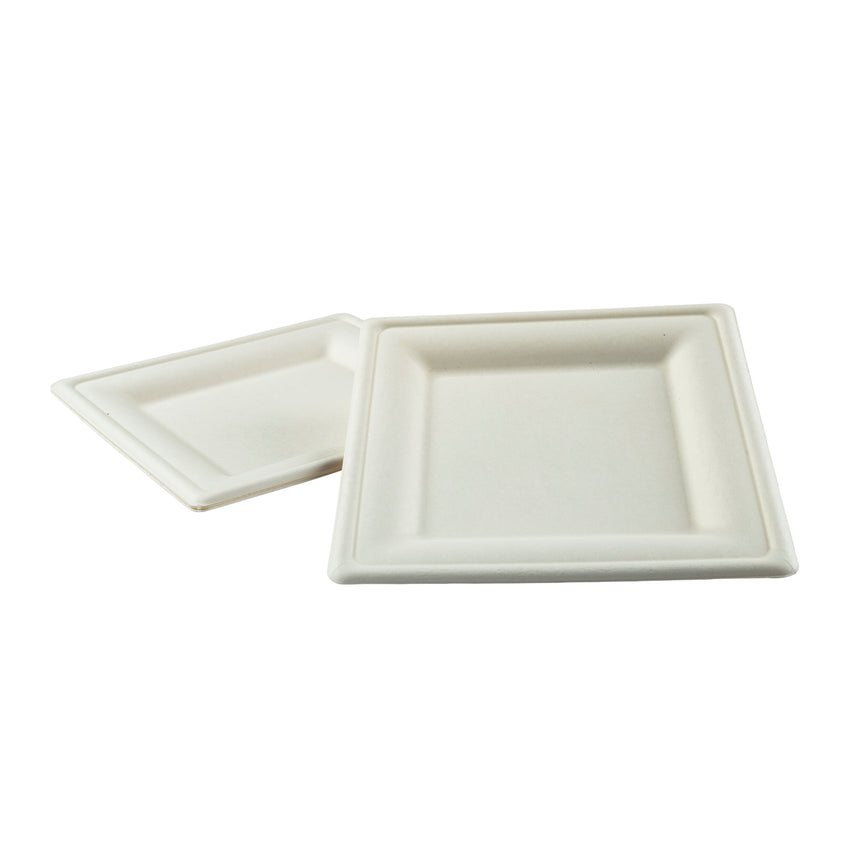 "Plate Bagasse 8"" Square, Case 50x10"