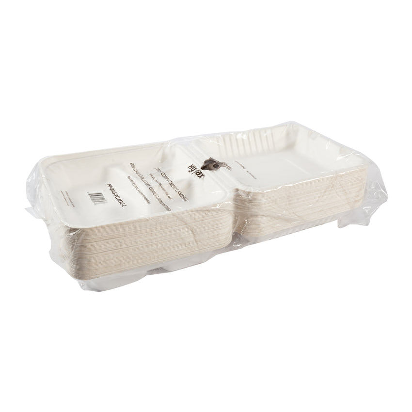 Clamshell 3 Compartment Bagasse Large, Case 50x4