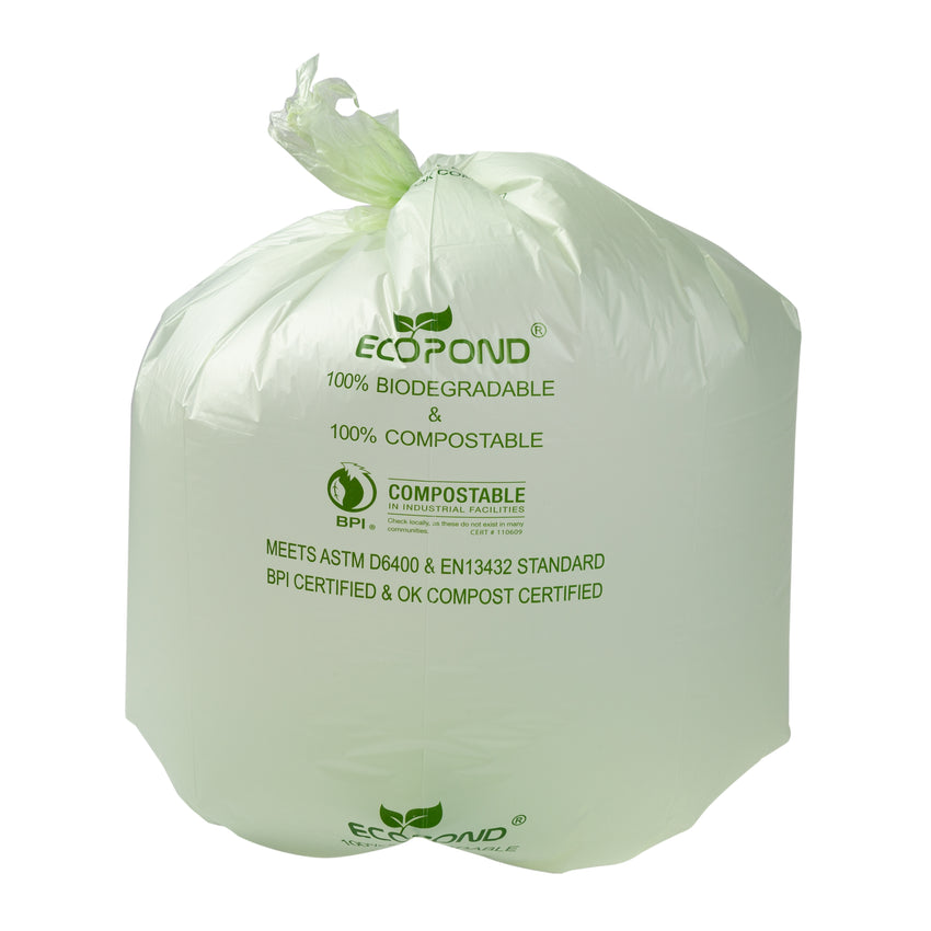"Garbage Bag Compostable 26x36"" XStr Green, Case 25x8"