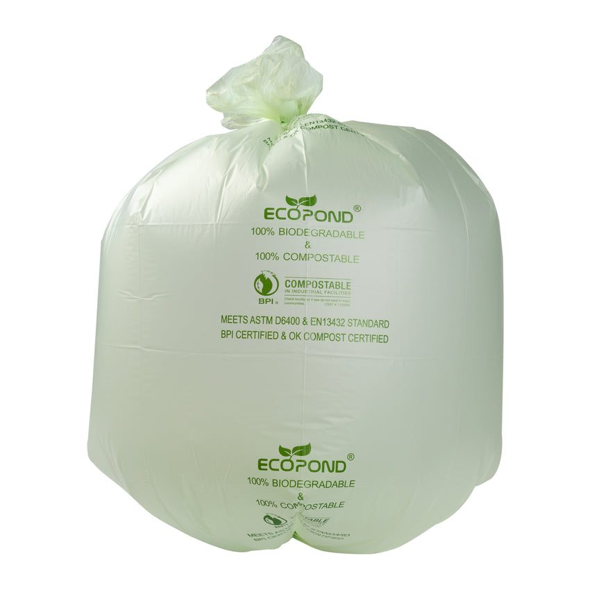 "Garbage Bag Compostable 35x50"" XStr Green, Case 25x4"