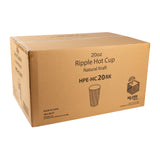 Cup Hot Kraft Ripple 20oz, Case 25x20