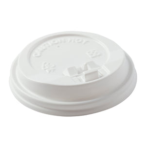 Lid Hot Cup PP Dome with latch 80mm Wht, Case 50x20