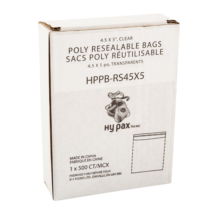 "Bag Resealable Poly 4.5x5"", Case 500x4"