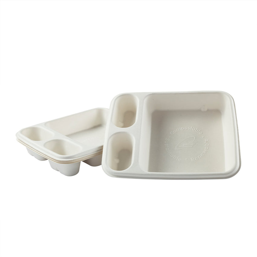 "3 Compartment Nacho Trays 7"" x 9"", Two Trays Stacked"