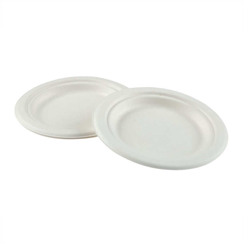 "6"" Round Plates, Multiple Plates Stacked With Overlapping Edge"