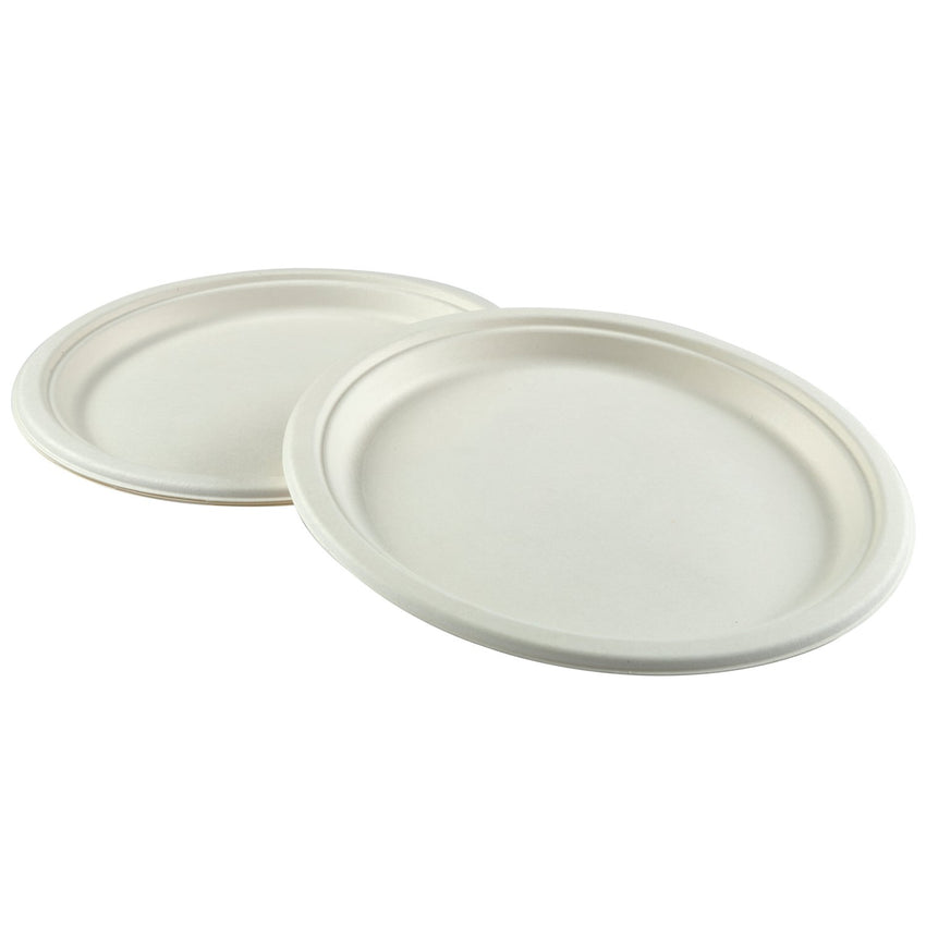 "10"" Round Plates, Multiple Plates Stacked With Overlapping Edge"