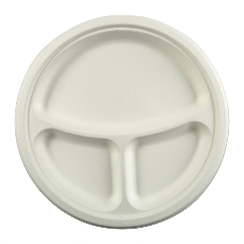 "10"" 3-Section Round Plates, Overhead View"