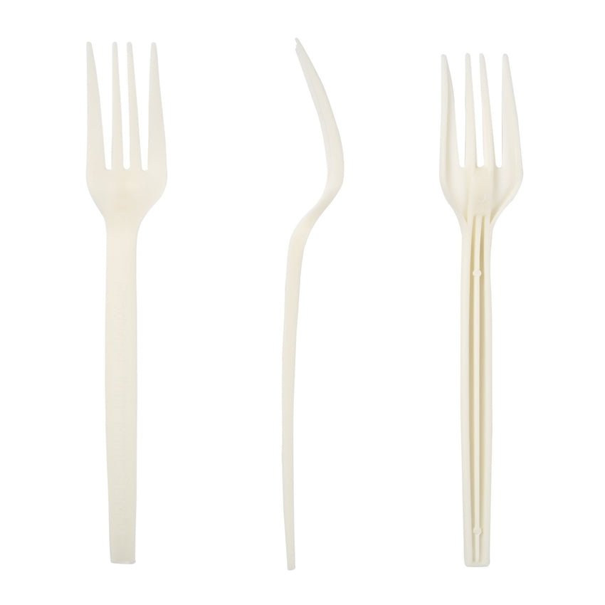 "7"" Fork Plant Starch Material, 3 Forks, Top and Side Views"