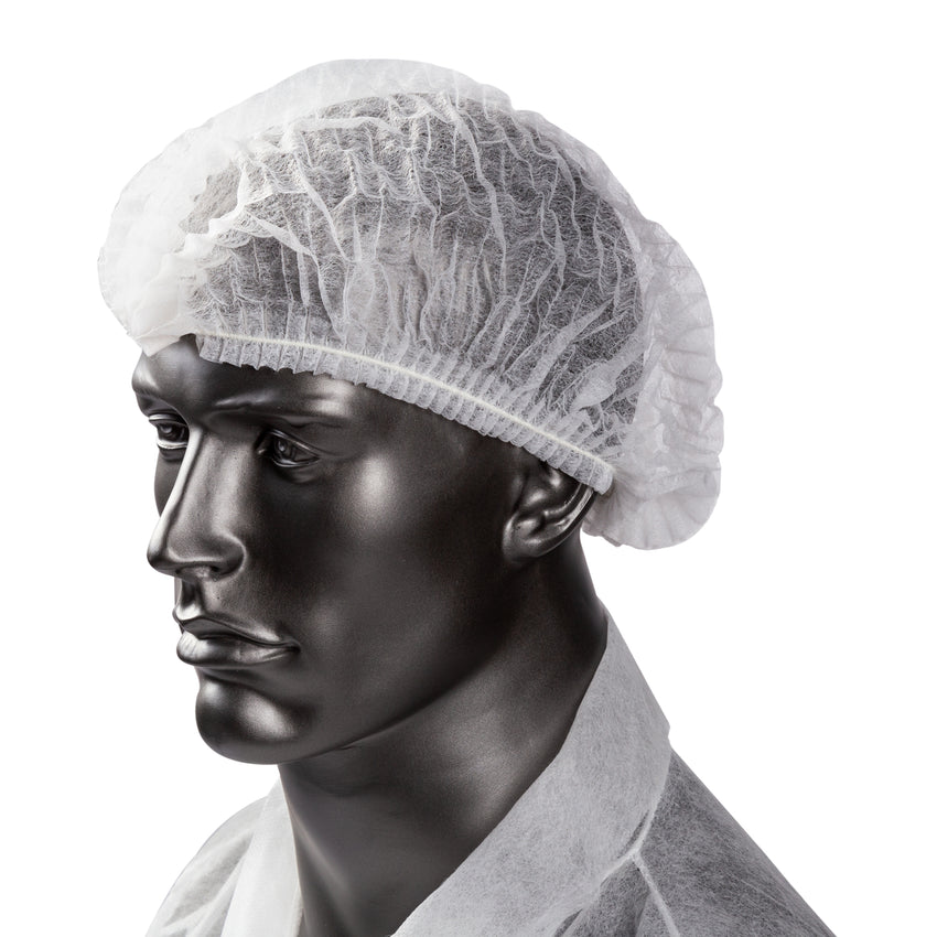 "Bouffant Cap 24"" White Pleated, On Mannequin"