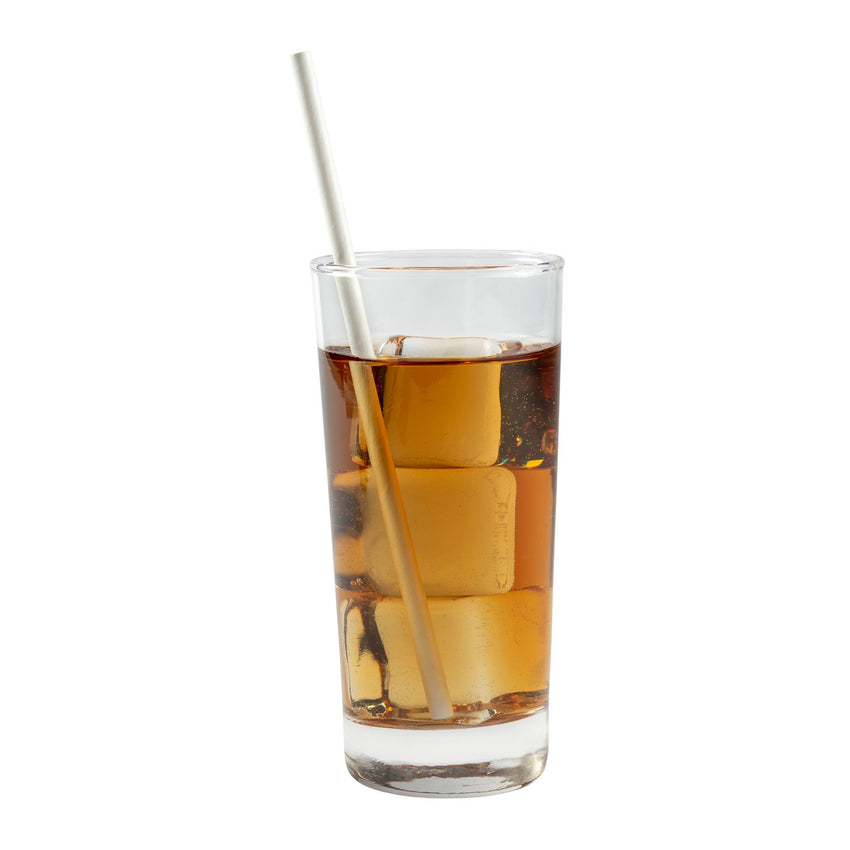 "WHITE 7.75"" JUMBO UNWRAPPED PAPER STRAW, Straw in Drink"