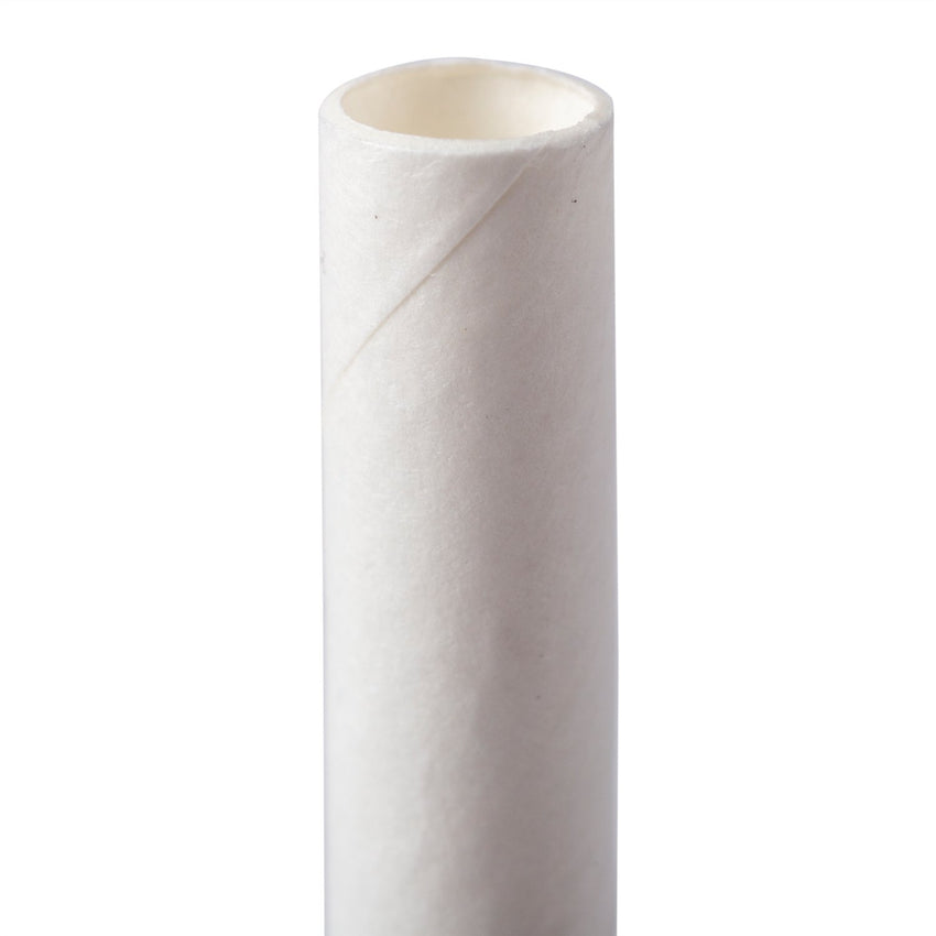 "WHITE 7.75"" JUMBO UNWRAPPED PAPER STRAW, Upright Detailed View"