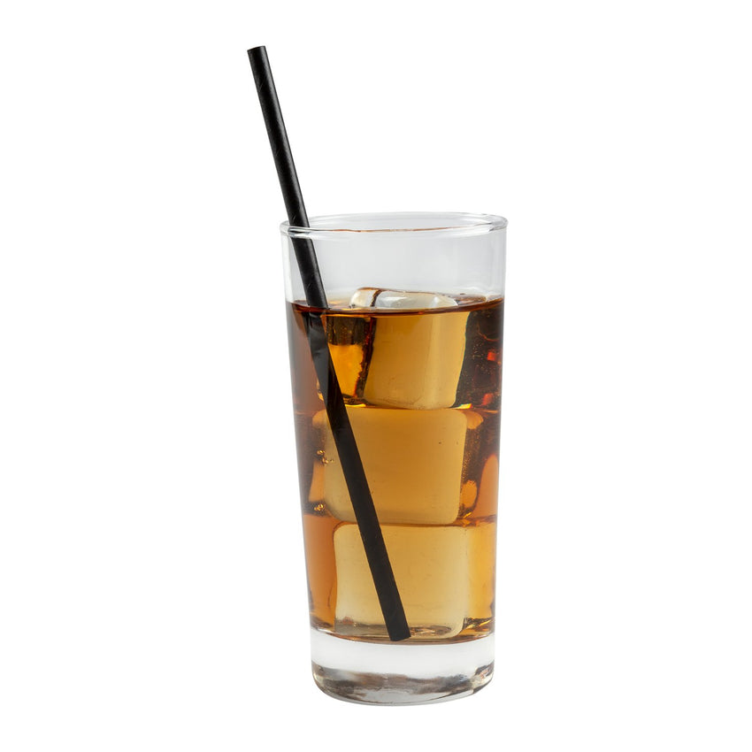 "STRAW, 7.75"", JUMBO, PAPER, WRAPPED, BLK, BAGGED, in beverage with ice"