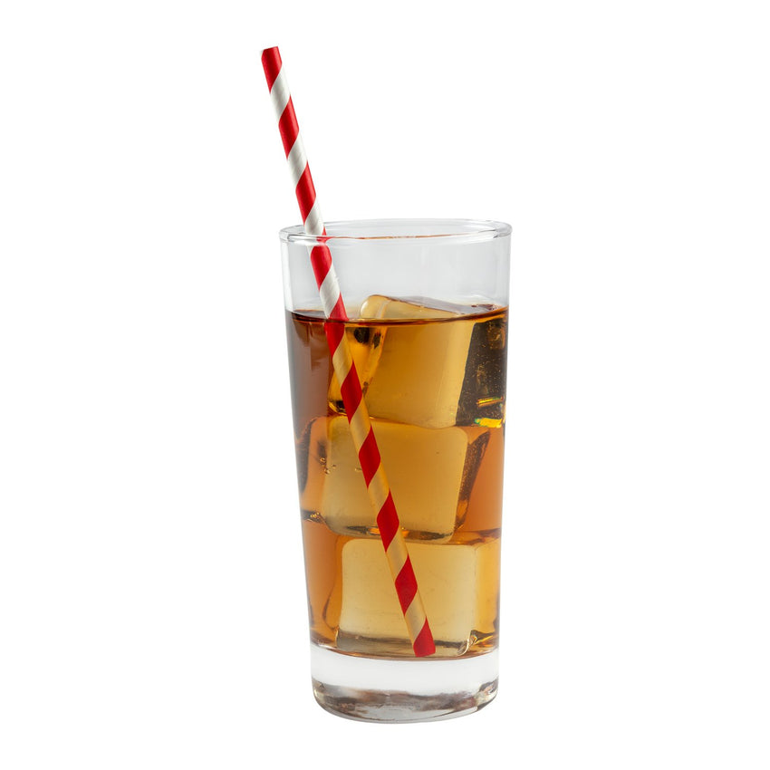"RED STRIPE 7.75"" JUMBO UNWRAPPED PAPER STRAW, Straw In Drink"