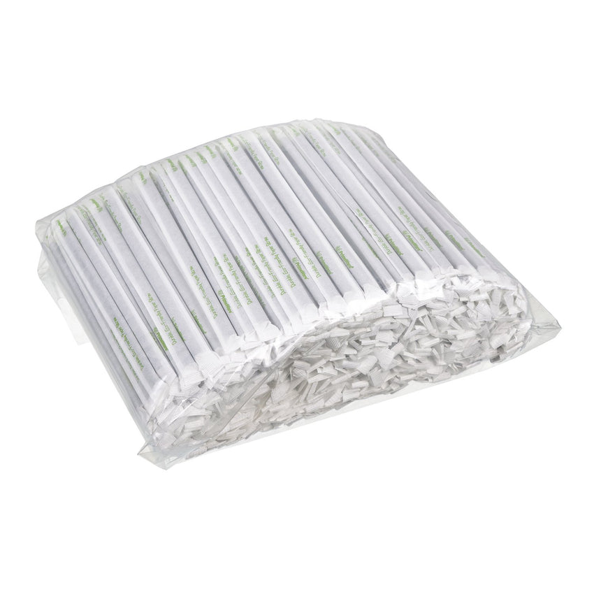 "STRAW, 7.75"", JUMBO, PAPER, WRAPPED, BLK, BAGGED, in wrapped and bagged"