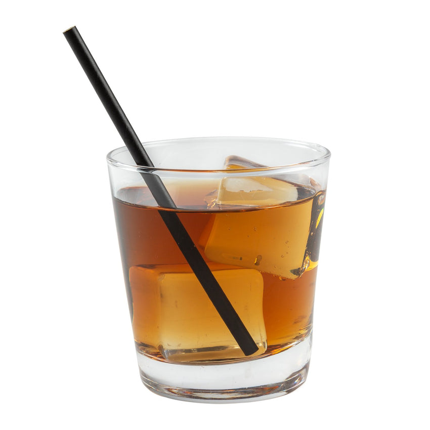 "5.75"" COCKTAIL UNWRAPPED BLACK PAPER STRAW, Straw in Drink"
