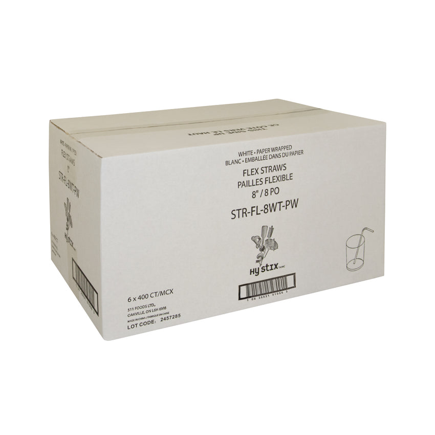 "Straw Flex 8"" White Paper Wrapped, Case 400x6"