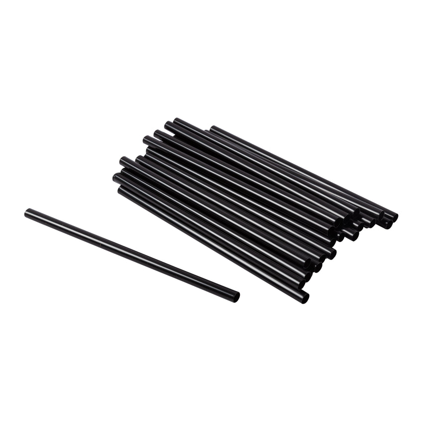 "Straw Cocktail Super Jumbo 6"" Black, Case 1500"