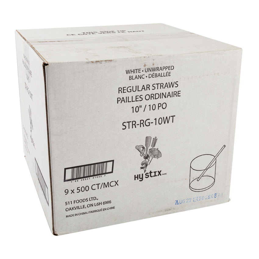 "Straw Regular 10"" White, Case 500x9"
