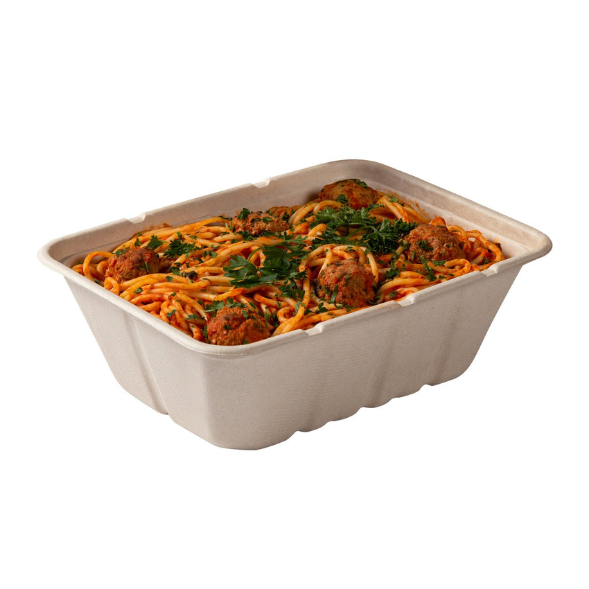 "Deep Tan Tubs 7"" x 9"" x 3.125"", with food"