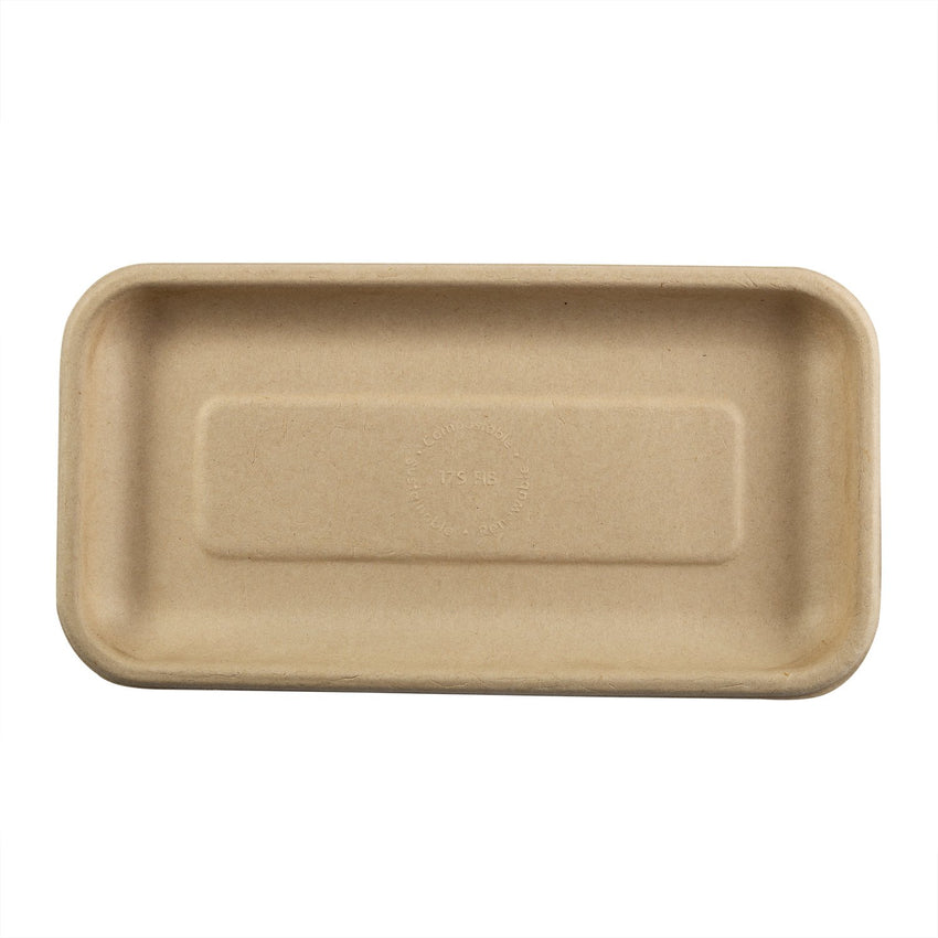"Tan Fiber Trays 8.3"" x 4.5"" x 0.6"", Overhead View"