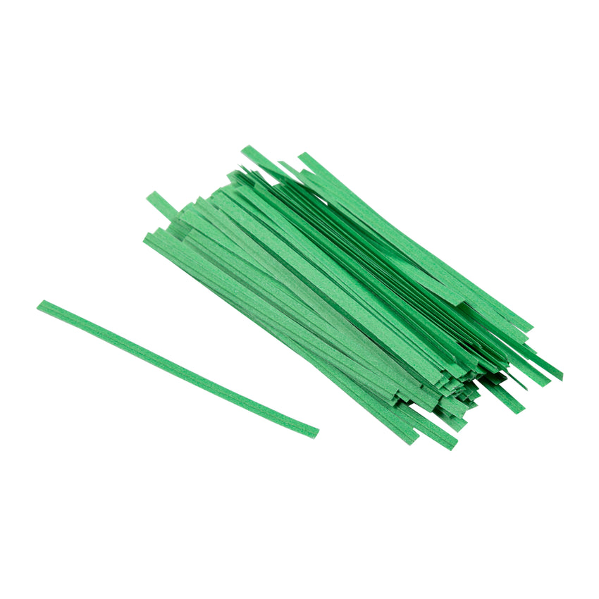 "Twist Tie 3x1/8"" Green Paper, Case 2000x25"