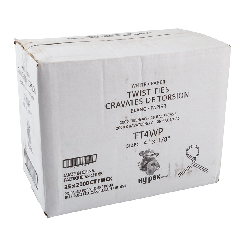 "Twist Tie 4x1/8"" White Paper, Case 2000x25"