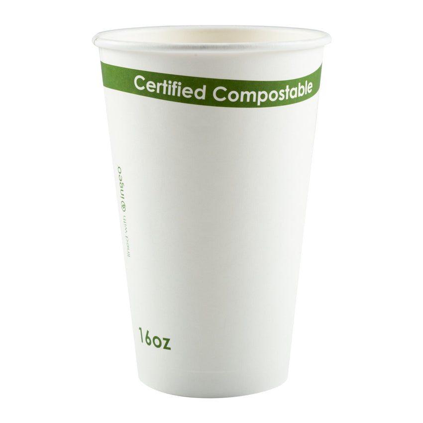 White 16 Ounce Compostable PLA Lined Cups