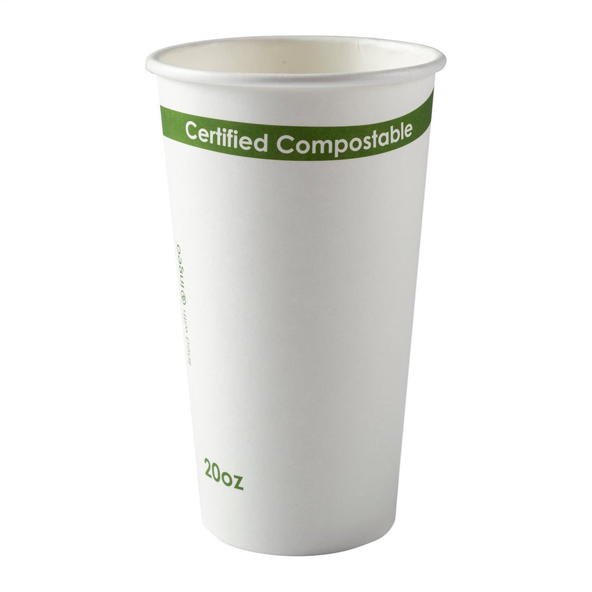 White 20 Ounce Compostable PLA Lined Cups