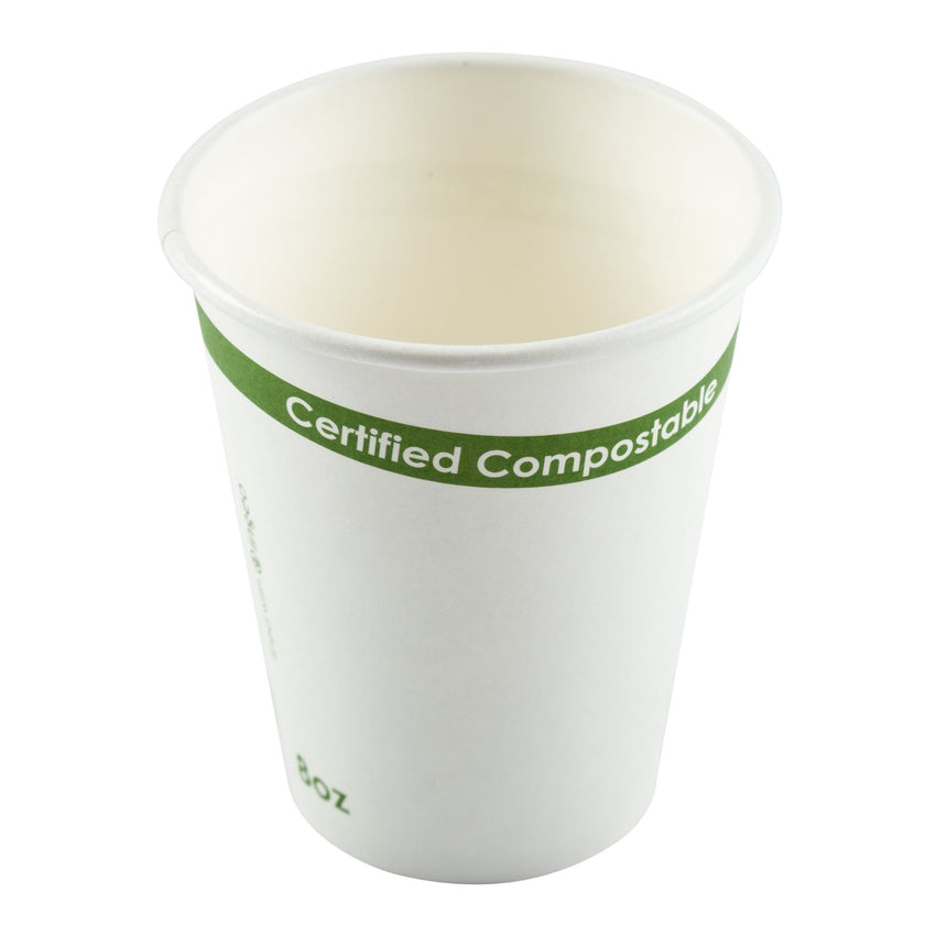 White 8 Ounce Compostable PLA Lined Cups, Top View