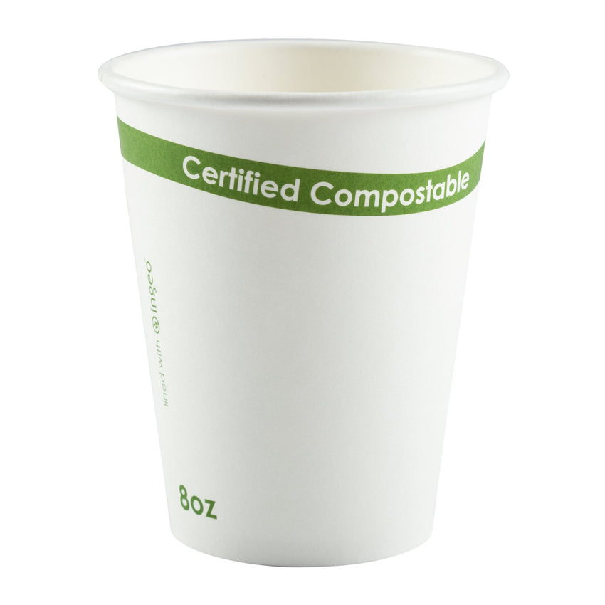 White 8 Ounce Compostable PLA Lined Cups