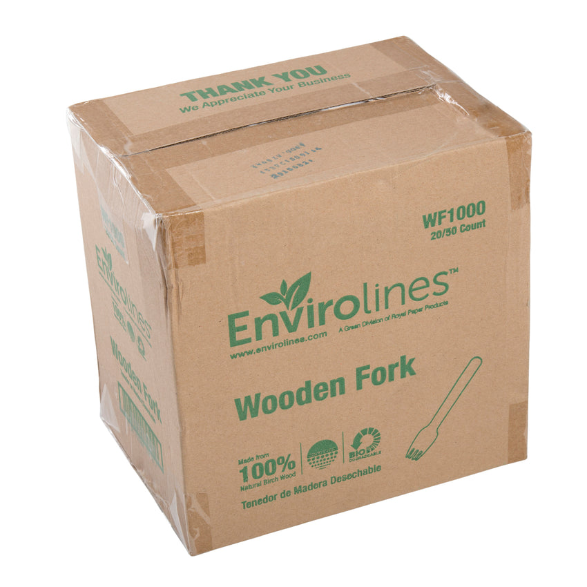 Envirolines Heavy Weight Disposable Wooden Fork, Case of 1000
