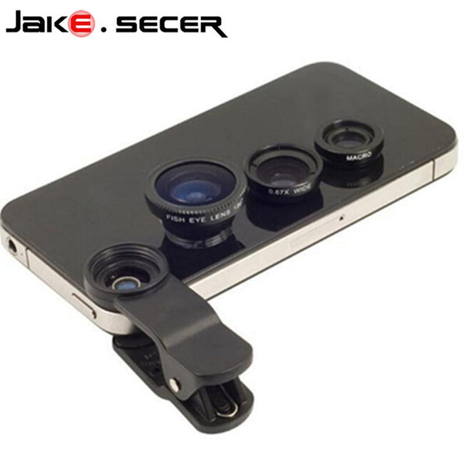 3 in 1 Smartphone Lens (Fish eye + Wide Angle + Macro) Universal (iPhone +Android) - jeenostore