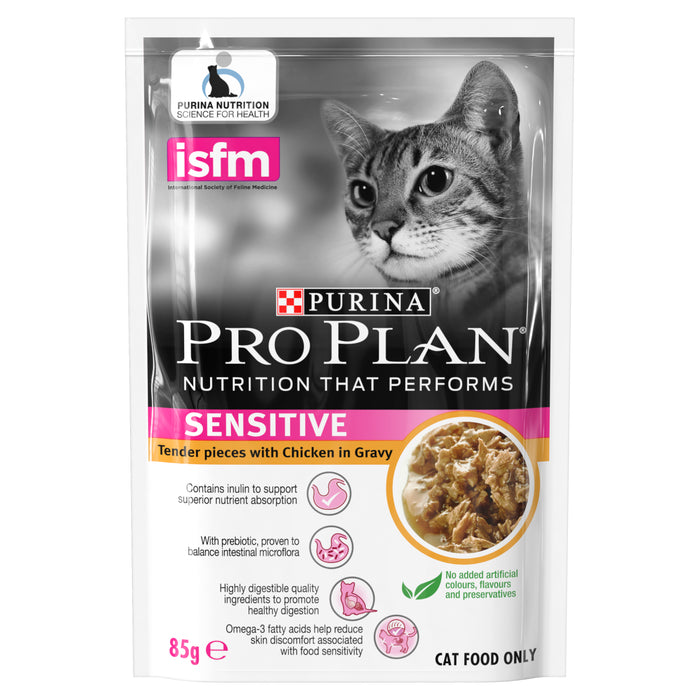 PRO PLAN Adult Sensitive Chicken In Gravy Wet Pouch Cat Food 12 x 85g