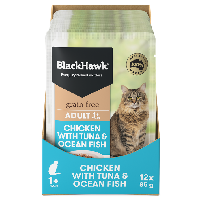 Black Hawk Cat Chicken with Tuna & Ocean Fish 12 x 85g