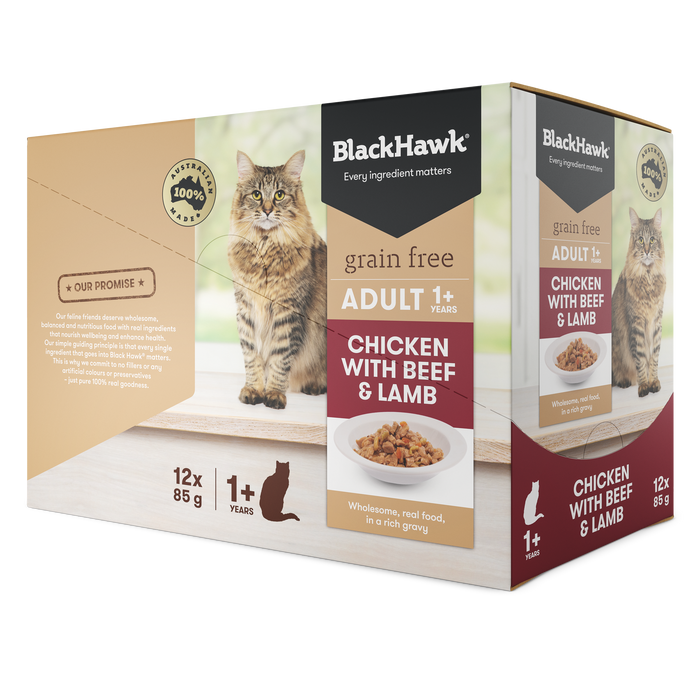 Black Hawk Cat Chicken with Beef & Lamb 12 x 85g