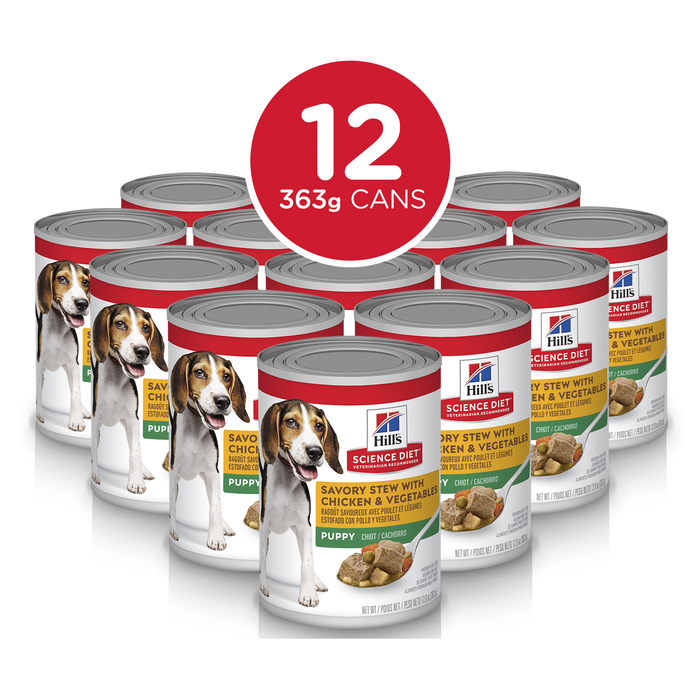 Hill's Science Diet Puppy Savory Stew Chicken & Vegetables Dog Food 12 x 363g cans