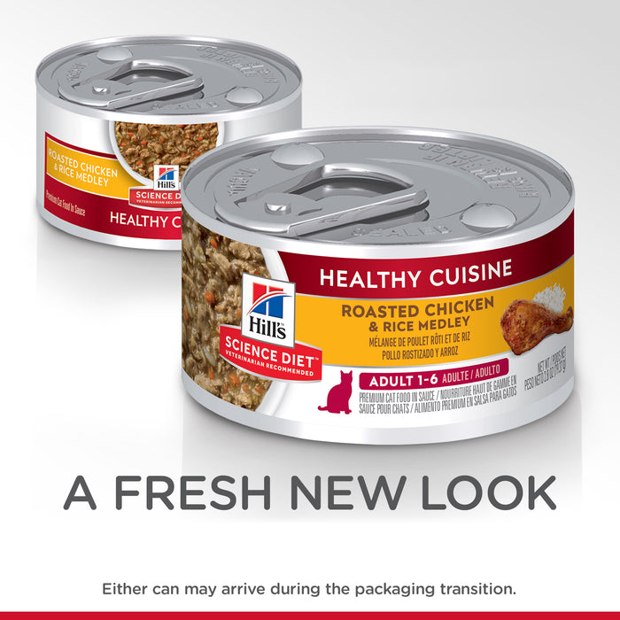 Hill's Science Diet Adult Healthy Cuisine Chicken & Rice Medley Canned Cat Food 24 x 79g cans
