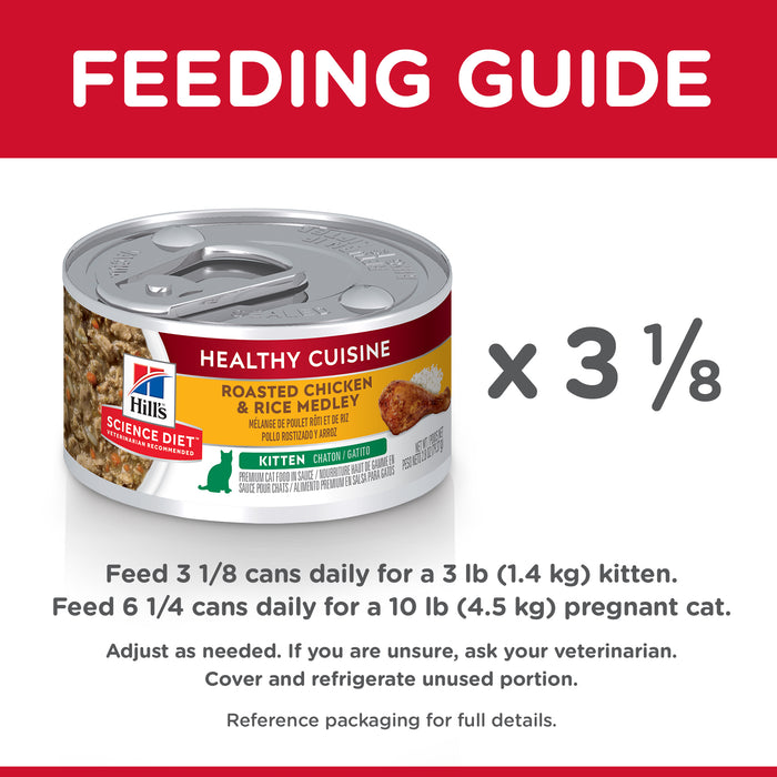 Hill's Science Diet Kitten Healthy Cuisine Chicken & Rice Medley Cat Food 24 x 79g cans