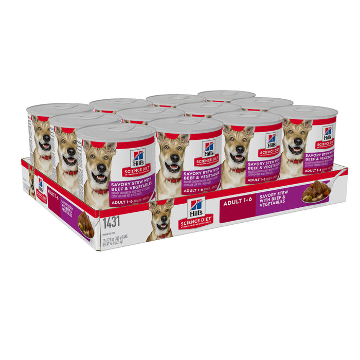 Hills Science Diet Adult Savory Stew Beef & Vegetables Dog Food 12 x 363g cans