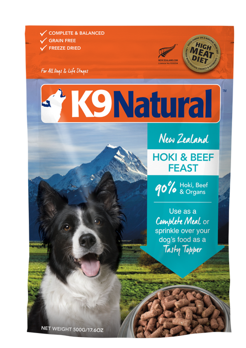 K9 Natural Freeze Dried Hoki and Beef 500g