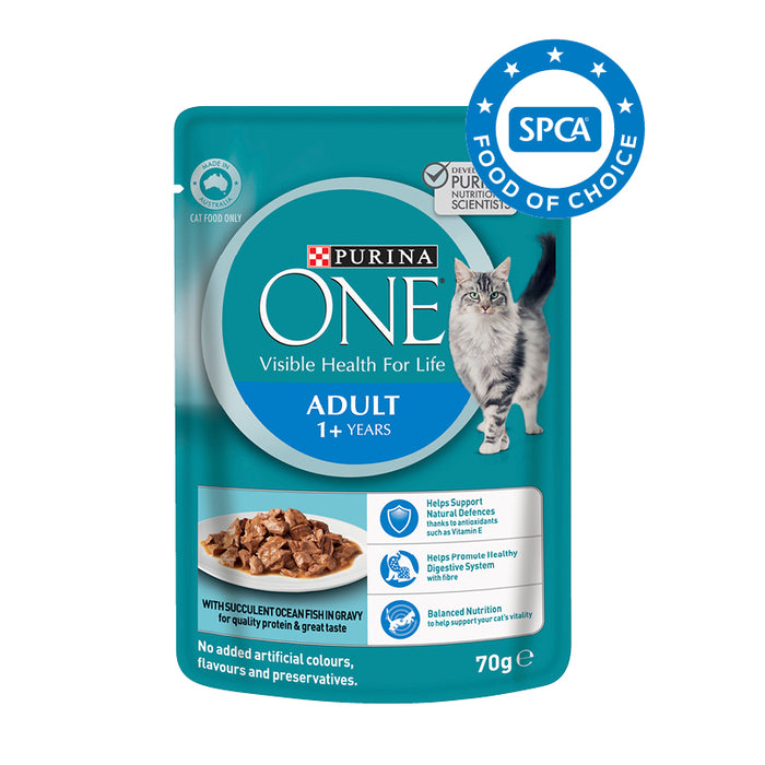 PURINA ONE Adult with Ocean Fish in Gravy Wet Cat Food 12x70g pouches