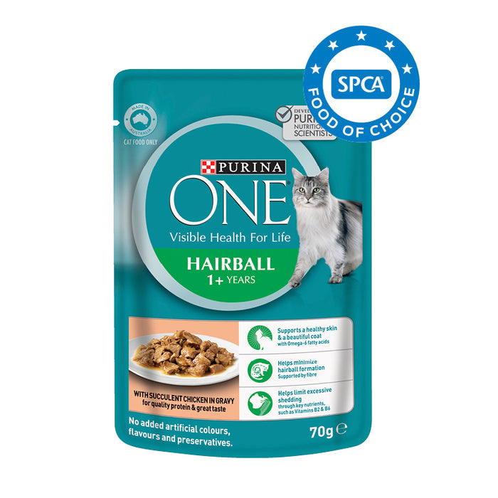 PURINA ONE Adult Hairball with Chicken in Gravy Wet Cat Food 12x70g pouches
