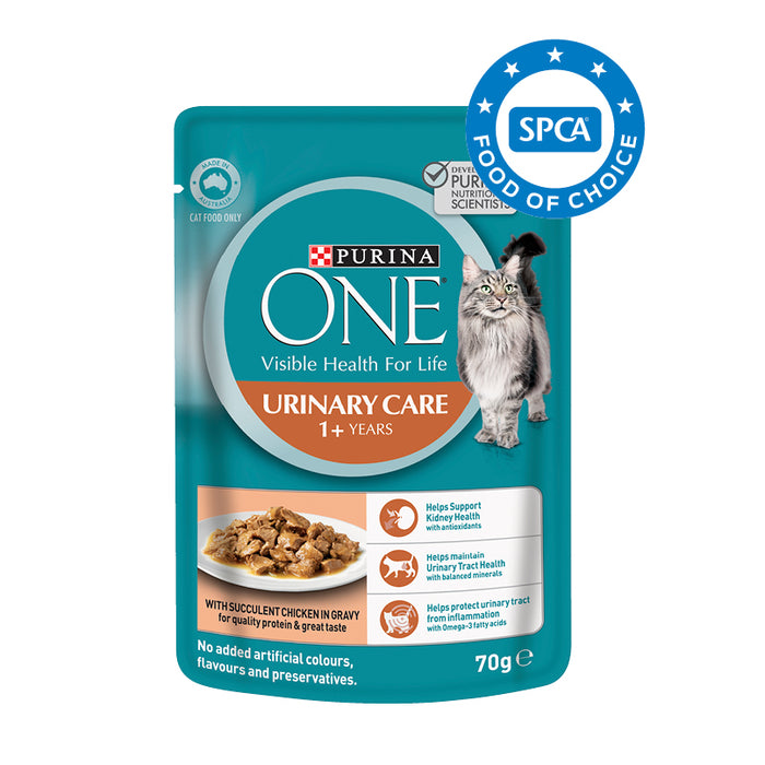 PURINA ONE Adult Urinary Care with Chicken in Gravy Wet Cat Food 12x70g pouches