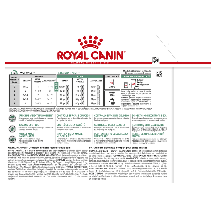 Royal Canin Satiety Pouch 85g x 12pk
